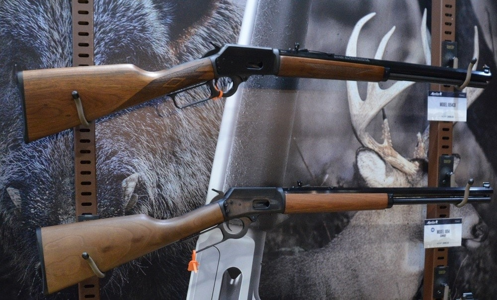 Two 1894C and CB Marlin rifles displayed