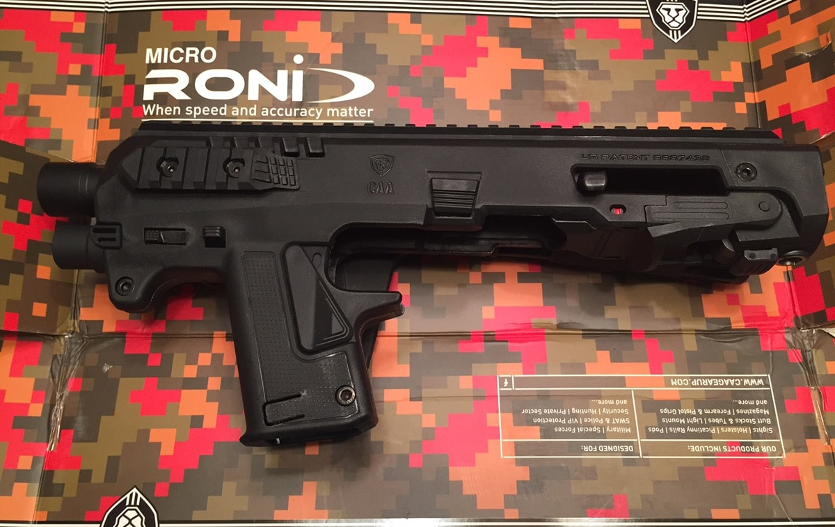 The Israeli-made Micro Roni pistol carbine conversion kit. (Photo: Eve Flanigan/Guns.com)