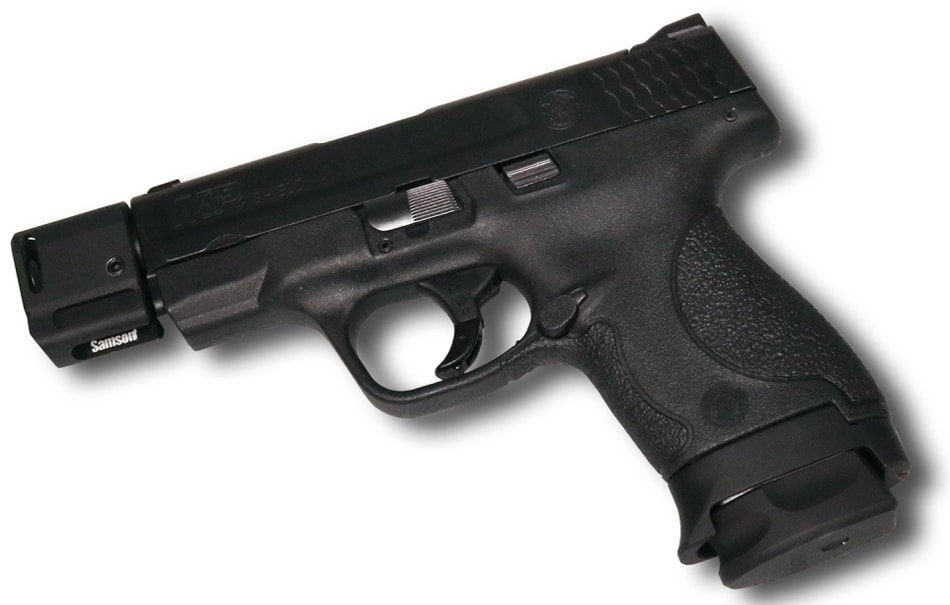 The Samson Manufacturing Pocket Comp attached to a Smith & Wesson Shield pistol. (Photo: Samson Mfg)