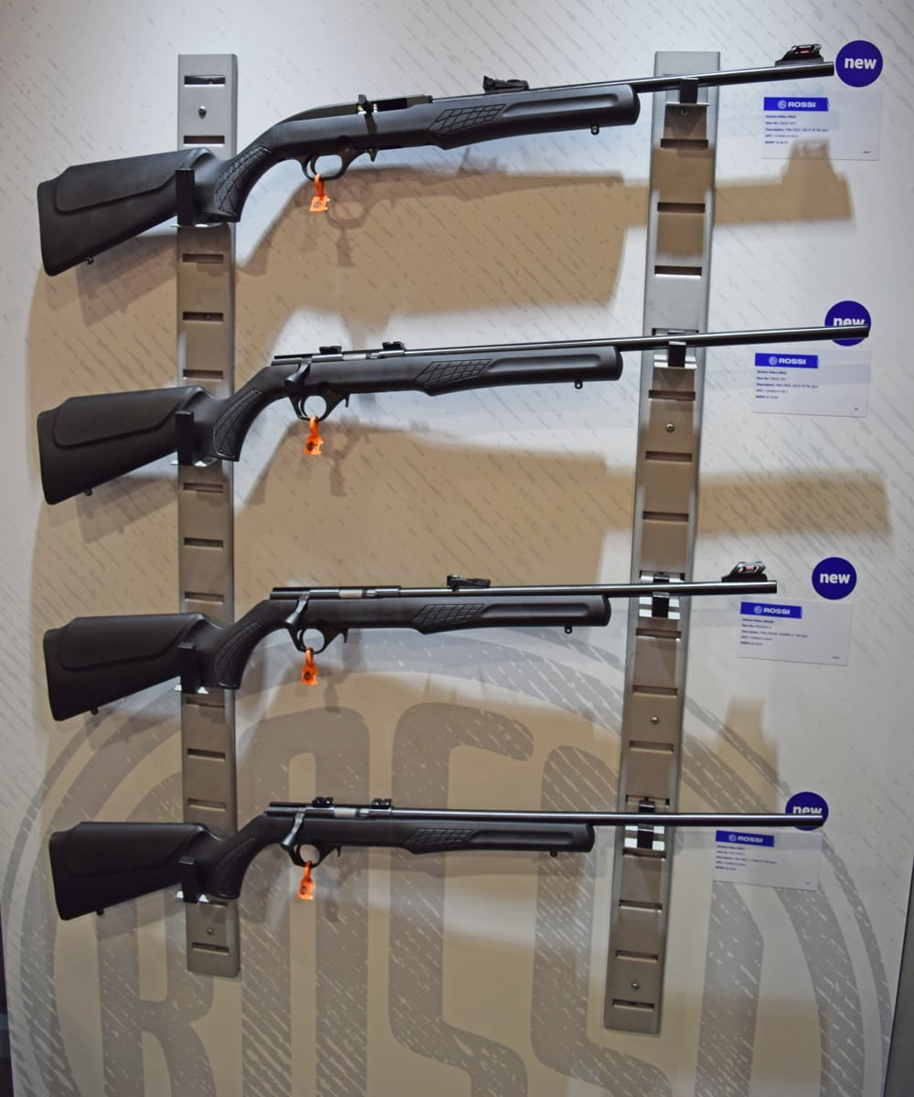 There isn't much info on the Rossi Rimfire rifles online, but here they are. There's a semi and some bolt actions all chambered in .22. (Photo: Daniel Terrill/Guns.com)