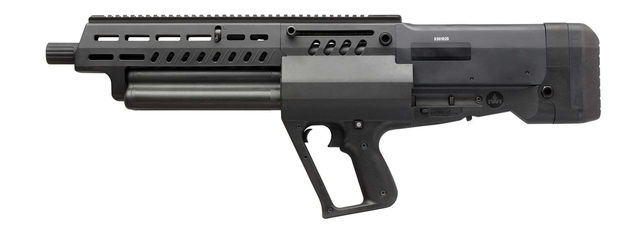 IWI's first shotgun is all bullpup, but can be switched to left or right-hand operation and carries 15 shells in its trio of magazine tubes. (Photos: IWI US)