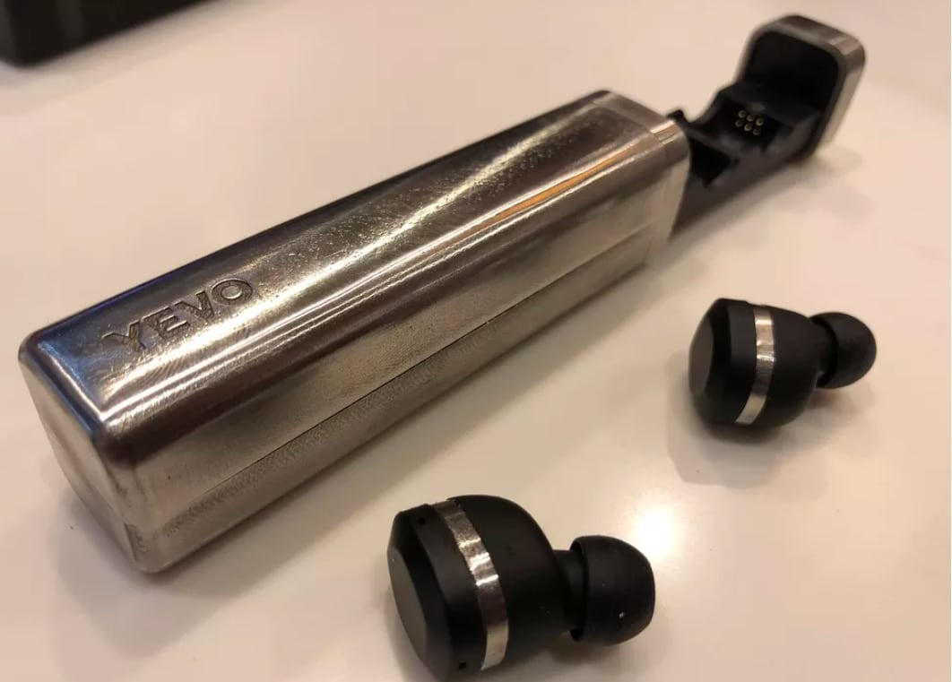 YEVO's bluetooth headphones are made with recycled gun metal. (Photo: Ian Sherr/CNET)