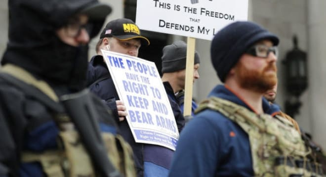 Second Amendment advocates at a gun rights rally last Friday at the Washington Capitol in Olympia, protesting a series of bills currently under review in the Democrat-controlled state legislature. (Photo: Ted S. Warren/AP)