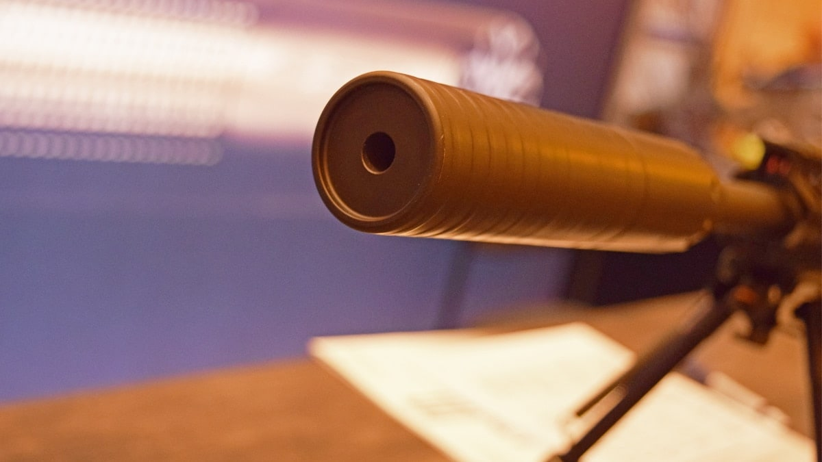 The business end of The Resonator suppressor, which is rated for .300 Remington Ultra Mag down to .17 HMR, on display at SHOT Show 2018 in Las Vegas. (Photo: Daniel Terrill/Guns.com)