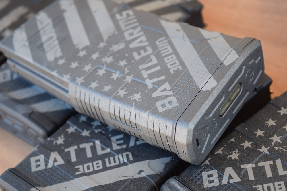 New Battle Arms magazines for .308 Winchester rounds. (Photo: Daniel Terrill/Guns.com)