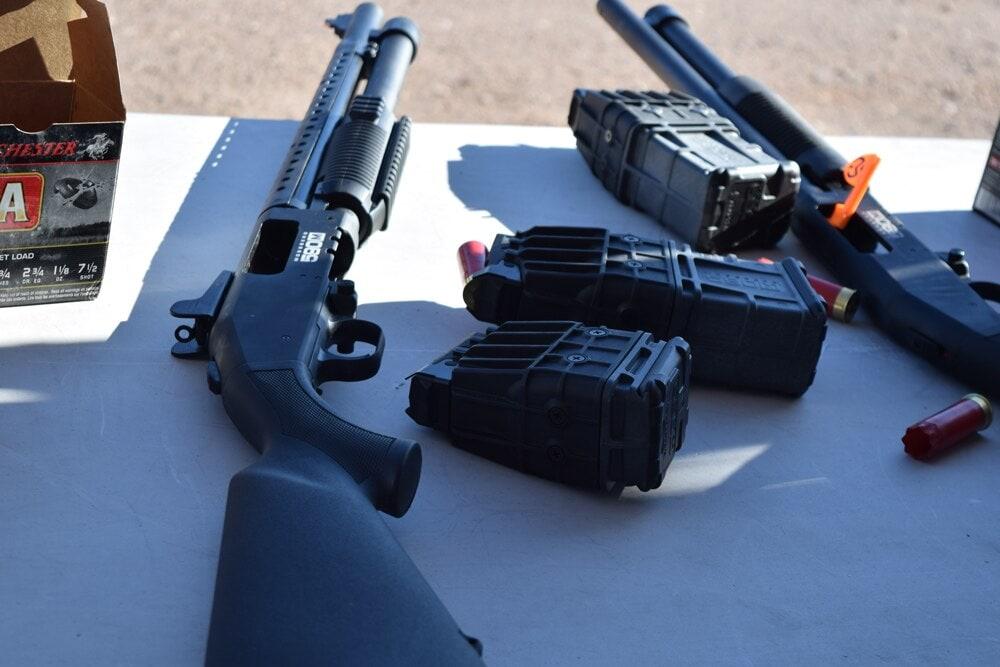 Big, fat double-stack magazines for Mossberg's mag-fed shotguns. (Photo: Daniel Terrill/Guns.com)