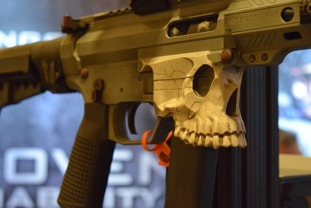 An eye-catching UDP9 was posted front and center at the Angstadt booth. The pistol was equipped with a Jack9 lower receiver with the magwell shaped into a skull. (Photo: Daniel Terrill/Guns.com)