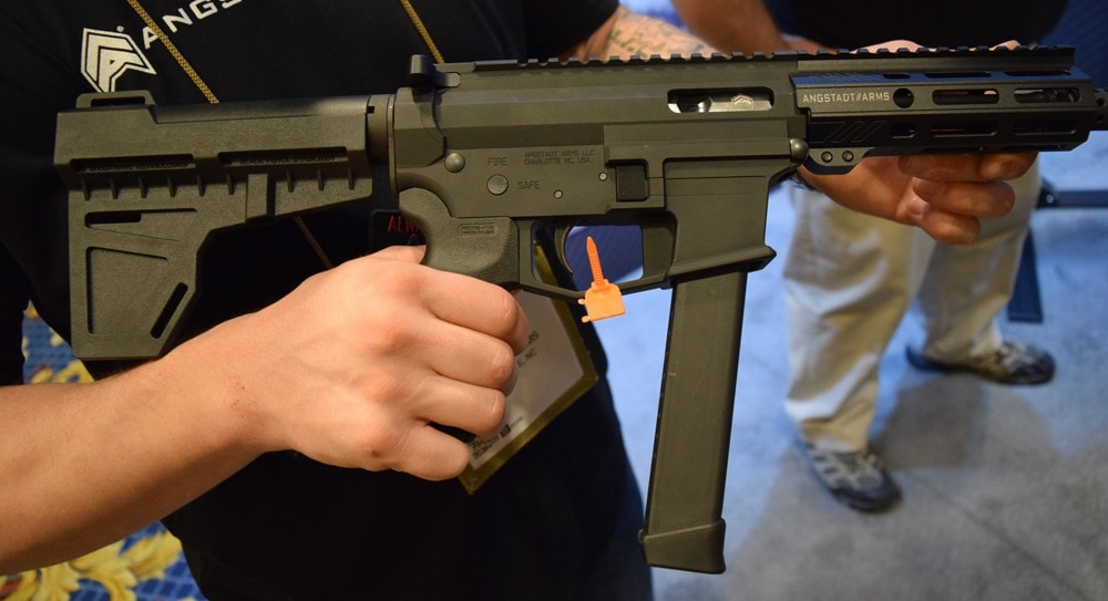 But the highlight of their booth was the UPD45 — an AR pistol chambered in .45 ACP — that sells for $1,325. The UPD45 has streamlined right-handed controls, easy to use and manipulate, and a flat trigger. (Photo: Daniel Terrill/Guns.com)
