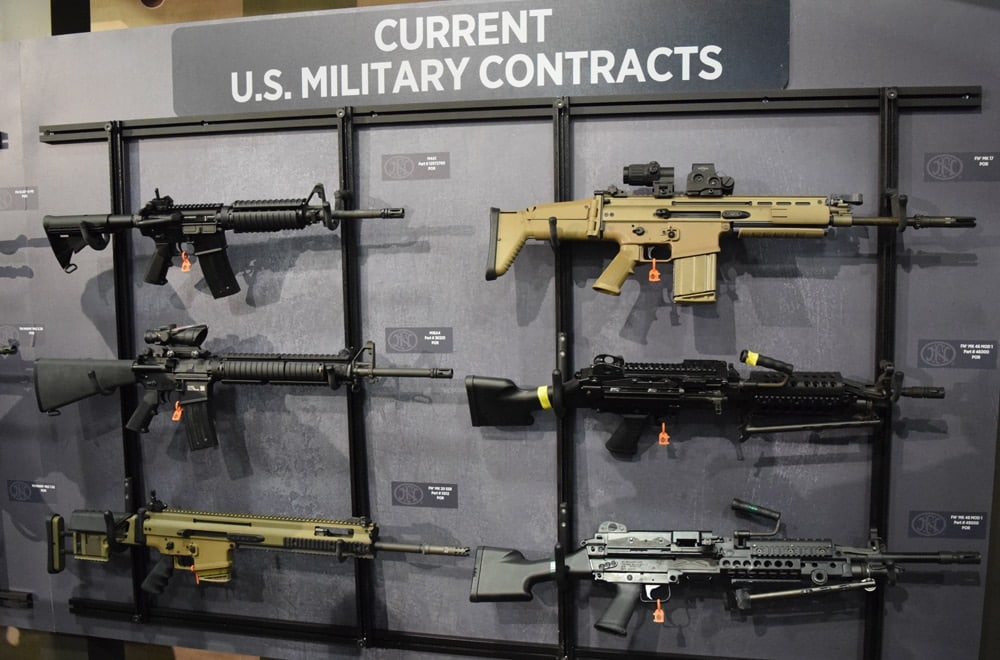 FN sectioned off its current U.S. military contract rifles, a big hit among fans at SHOT Show 2018. (Photo: Daniel Terrill/Guns.com)
