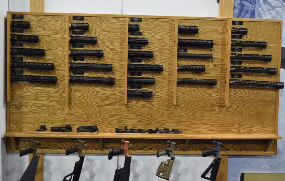 Opposite of the wall of guns, Rock River Arms displayed a series of gun parts and heat shields. (Photo: Daniel Terrill/Guns.com)
