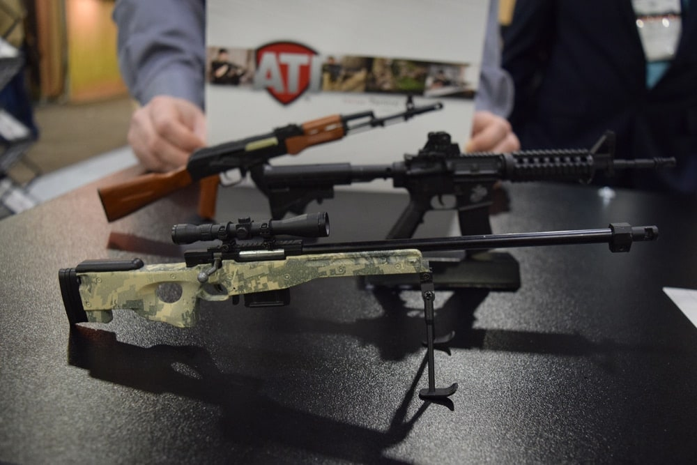 ATI offered all metal construction, miniature rifles at its SHOT Show booth for $30. (Photo: Daniel Terrill/Guns.com)