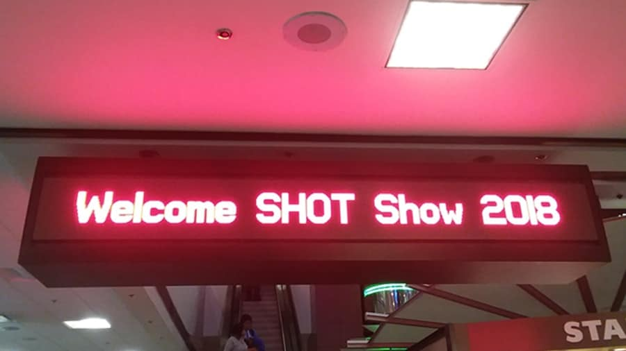 In true Vegas fashion, the NSSF welcomes patrons to SHOT Show 2018 at the Sands Expo. (Photo: Chris Eger/Guns.com)