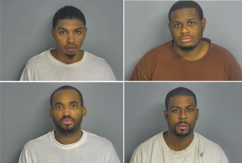 Federal authorities indicted five men for stealing 650 firearms from a UPS freight facility in Springfield, Missouri in October 2017. The suspects, from include Keith Lowe (top left), Eric White (top right), Derrick White (bottom right) and Keith Lowe (bottom left). (Photo: Greene County Sheriff's Office)