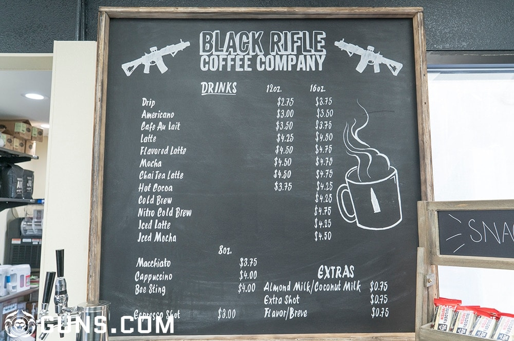 A full list of coffee at the Black Rifle Coffee Company's flagship store in Las Vegas, Nevada. (Photos: Ben Philippi/Guns.com)
