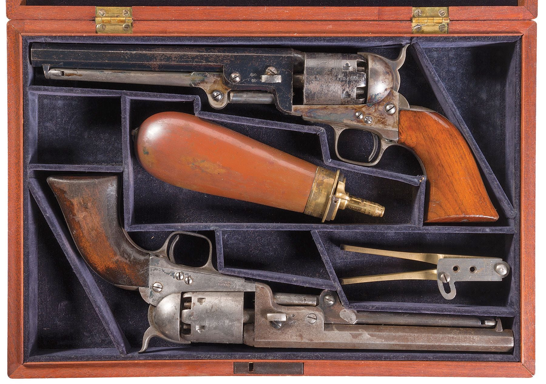 The guns were made in 1855 and one has seen a lot more service than its partner-- though the cylinders were accidentally swapped between the two early on. (Photos: RIA)