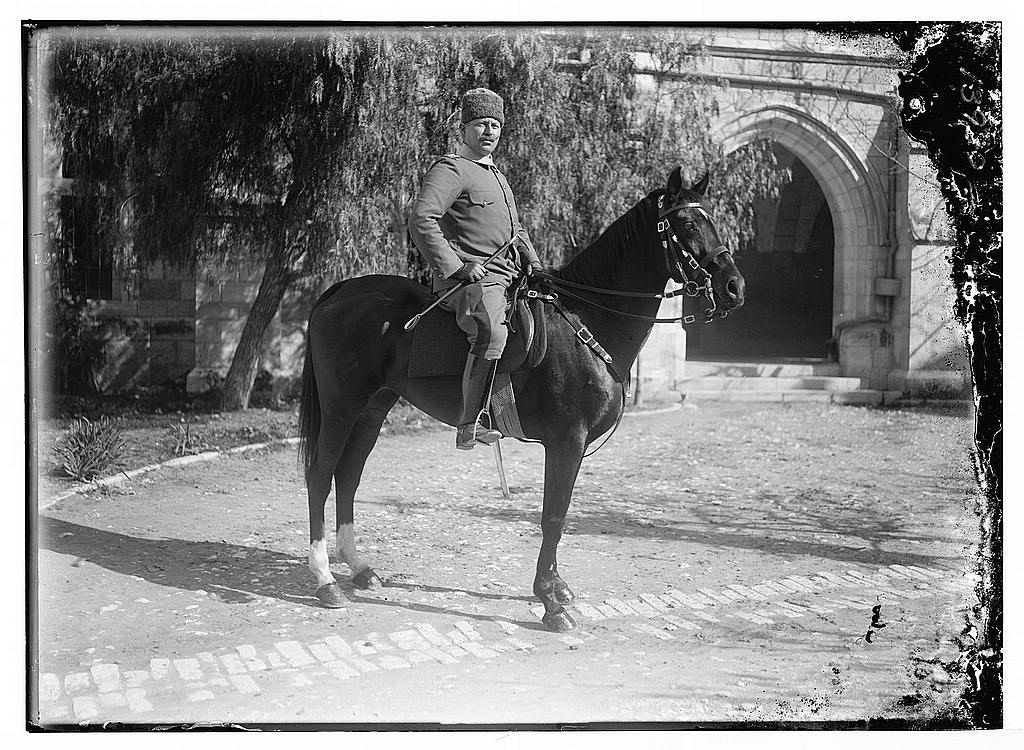 Ashraf Bey, in American Colony courtyard in Jerusalem, then part of the Ottoman Empire, 1917. (Photo: Library of Congress)