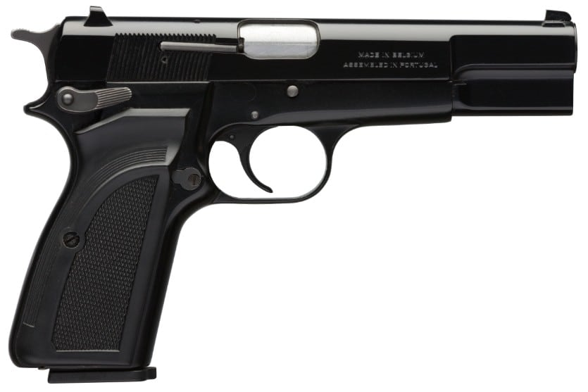 The Browning Hi-Power Mk III, one of the last two models in production, featured a matte black, steel slide with epoxy finish and composite grip panels. Final MSRP $1,109.99. (Photo: Browning)