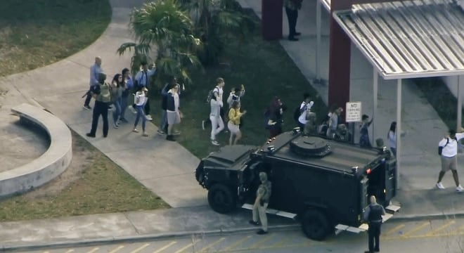 A shooting at Stoneman Douglas High School in Parkland, Florida this week left 17 dead and sparked a round of calls for more gun control. (Photo: Screengrab via https://www.nbcnews.com/news/us-news/police-respond-shooting-parkland-florida-high-school-n848101 NBC News)