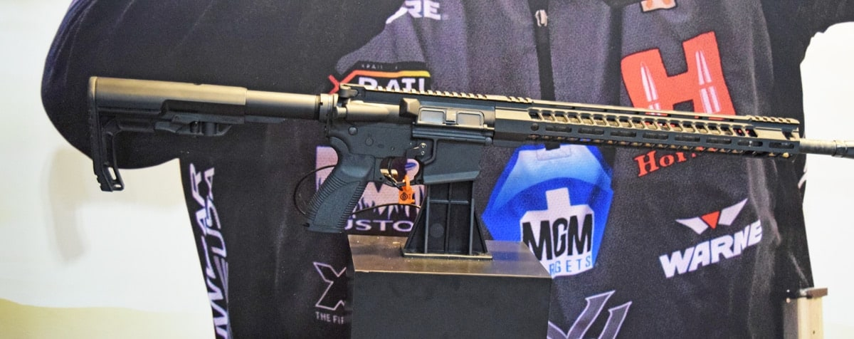 The Caracal CAR814 A2 Comp at the company's booth during SHOT Show 2018 in Las Vegas. (Photo: Daniel Terrill/Guns.com)