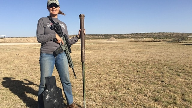 Carrying a homemade post_pounder T-post and CTS target downrange with room to carry a rifle. (Photo: Eve Flannigan)