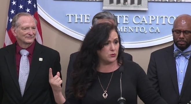 California Assemblywoman Lorena Gonzalez Fletcher joined a host of other Democrats in a press conference this week in an effort to publicize a new campaign for more gun regulations in the state. (Photo: Screengrab via California Assembly Network)