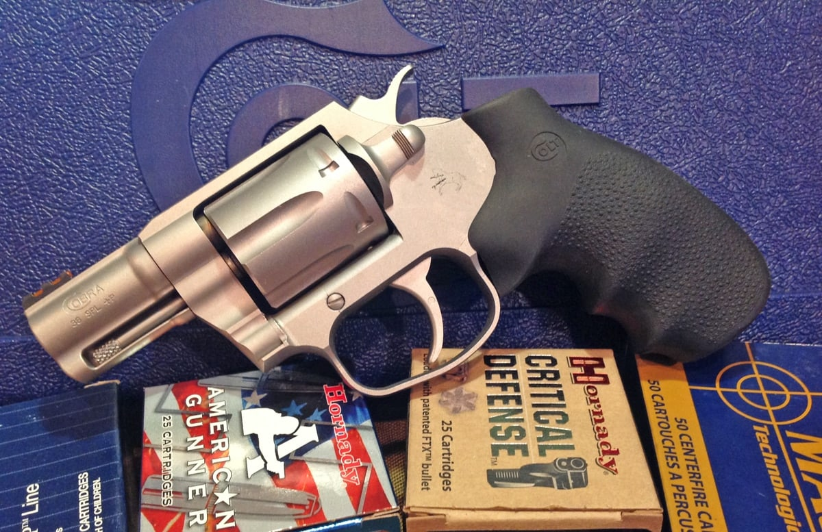 The Colt Cobra snubbed nose revolver. Although we expected no less than perfection, the Cobra fired all ammo with 100 percent reliability. (Photo: Kristin Alberts/Guns.com)
