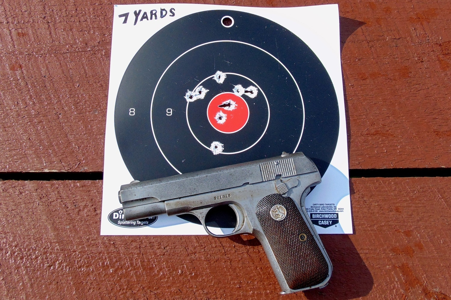The Colt 1903 pistol not bad at seven yards. (Photo: David LaPell)