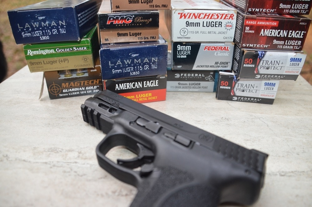 Loadings included Federal's new Train and Protect 115-grain, the new American Eagle Syntech TSJ, Speer Lawman, Magtech and Remington hollow-points, Winchester white box and lots of PMC.