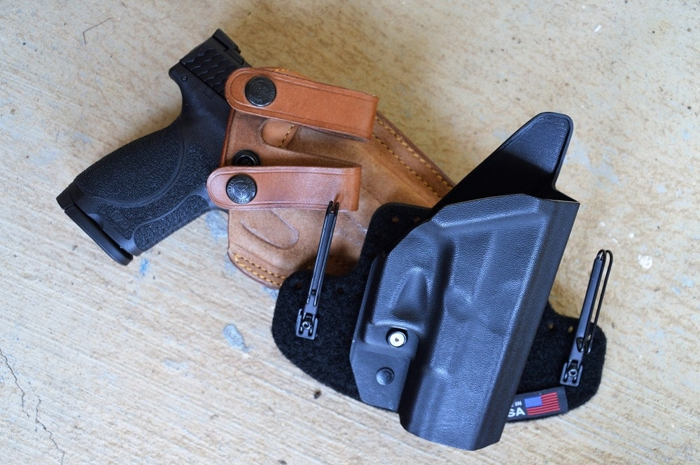 While these offerings from Galco (a Royal Guard model) and Massaro Holster Works were made for G19s, they worked well with the Compact Smith