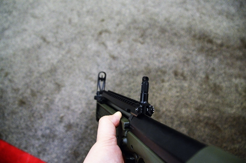 The standard sight picture with the peep rear and hooded front is quick to pick up, though the radius is short