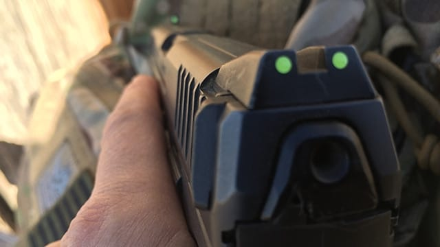 Due to holster carry, the solar-charged night sights are brighter in the rear. (Photo: Team HB)