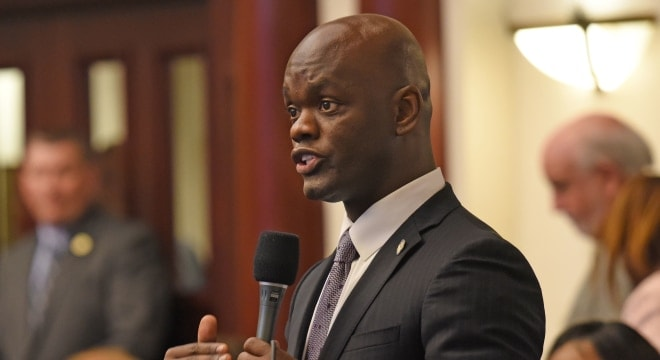 "Florida Rep. Kionne L. McGhee, D-Cutler Bay, shown debating on the House floor last April, attempted unsucessfully this week to get lawmakers to vote on a measure to ban ""assault weapons"" in the state. (Photo: Florida House)"