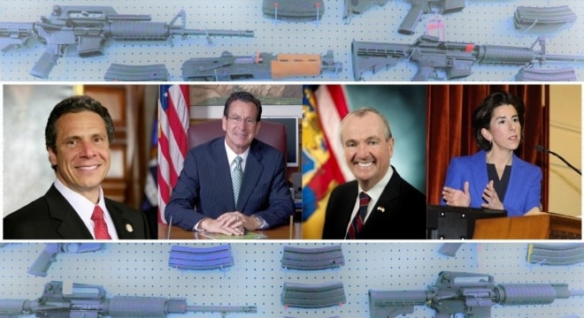 Govs. Andrew Cuomo of New York, Dannel Malloy of Connecticut, Phil Murphy of New Jersey, and Gina Raimondo of Rhode Island have entered into an agreement to combine regional gun control efforts. (Photo: Composite from offical portraits)