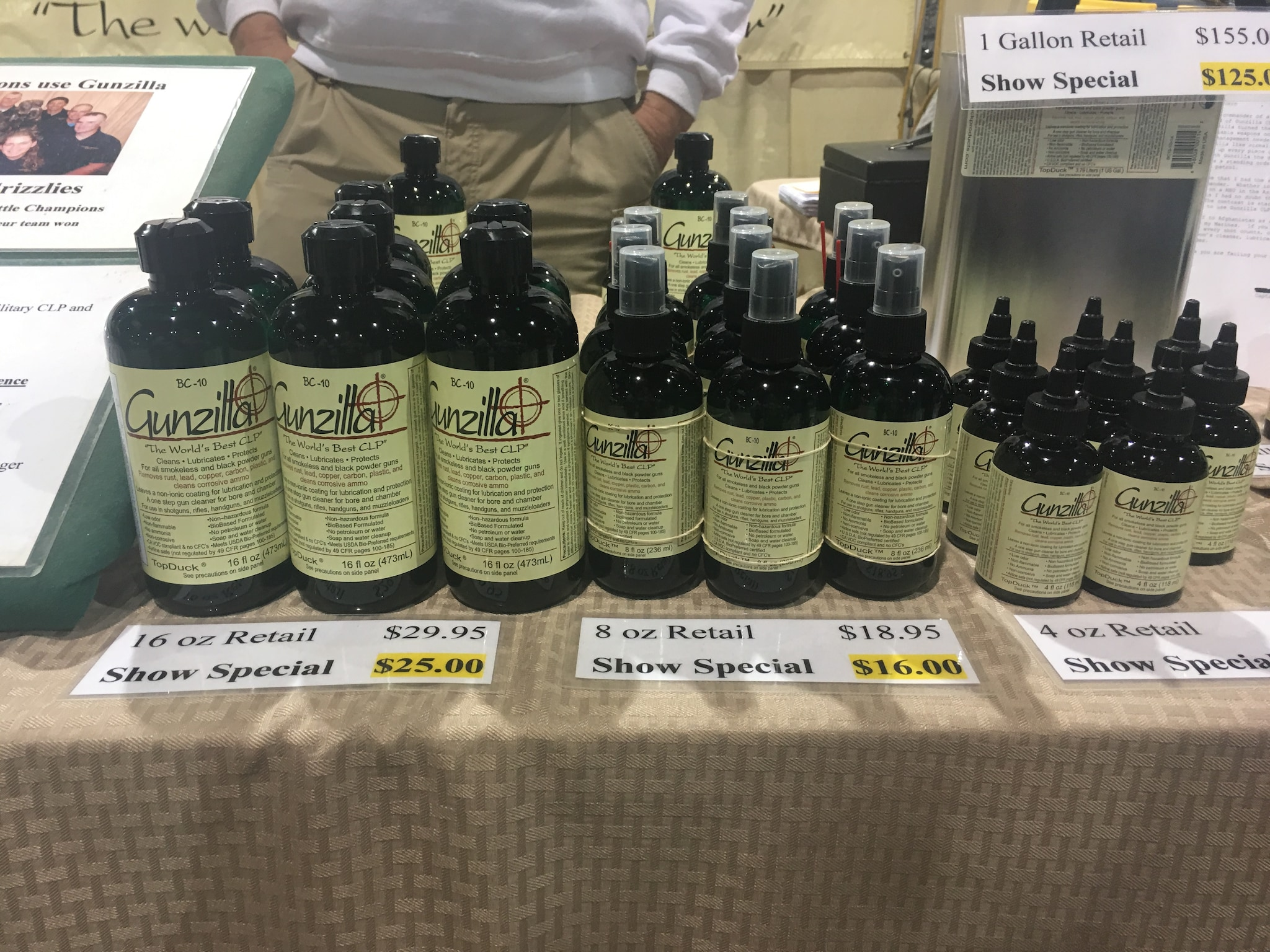 Gunzilla claims its USDA-certified plant-based formula cleans guns faster, improves accuracy and reduces weapon malfunctions. Don Kettles, president of TopDuck Products LLC -- Gunzilla's manufacturer -- comes to the Great American Outdoor Show every year to sell to a loyal fan base. (Photo: Christen Smith/Guns.com)