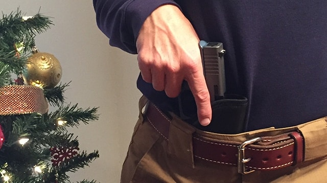 The most secure-feeling method of wearing this holster was with a gun belt like the Exos one shown here. (Photo: Team HB)