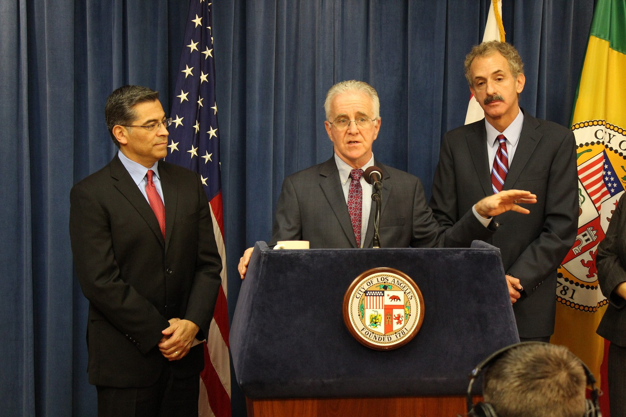 City Councilman Paul Krekorian, center, speaking with California Attorney General Xavier Becerra and Los Angeles City Attorney Mike Feuer on Feb. 6, 2018 in the wake of a seizure of 25 guns from an area man. (Photo: Krekorian's office)