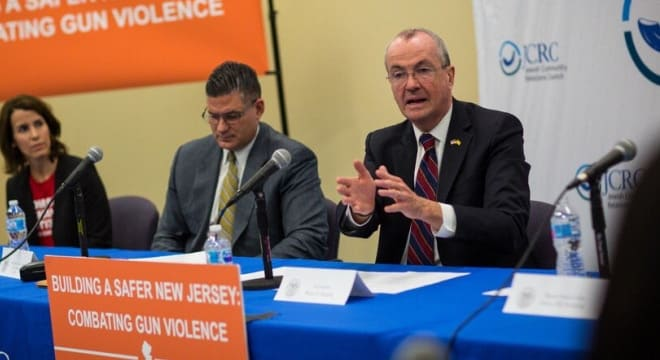 New Jersey Gov. Phil Murphy stood behind his pre-election campaign promises on Tuesday at a roundtable discussion with gun control advocates and fellow Democrat, Assembly Majority Leader Louis Greenwald. (New Jersey Governor's office)