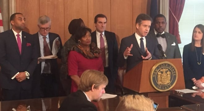 A group of Democrats in the New York Senate, joined by gun control advocates, debuted a new collection of proposed regulations on firearms in the state. (Photo: NY Senate Dems)