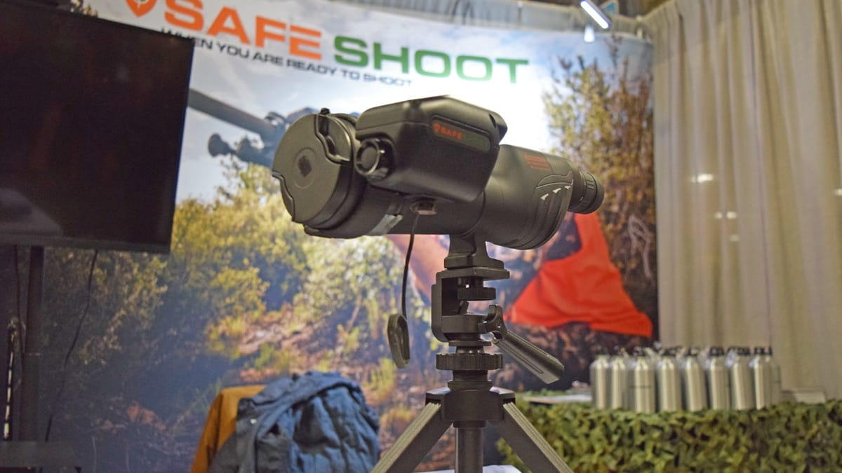 The Safe Shoot device attached to a scope at the company's booth during SHOT Show 2018 in Las Vegas. (Photo: Daniel Terrill/Guns.com)