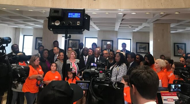 "Florida Democrats, bolstered by gun control advocates, pushed hard for a ban on ""assault weapons"" this week at the Capitol, but came away with almost everything but. (Photo: FlaDems)"