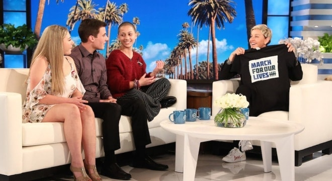 The students associated with the March for Our Lives organization have become a fixture on television in recent days. (Photo: Screengrab of Ellen Show)