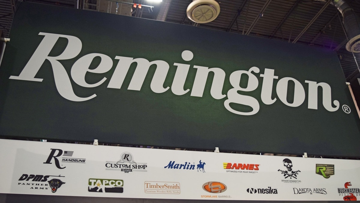 The Remington sign at the company's booth during SHOT Show 2018 in Las Vegas. (Photo: Daniel Terrill/Guns.com)