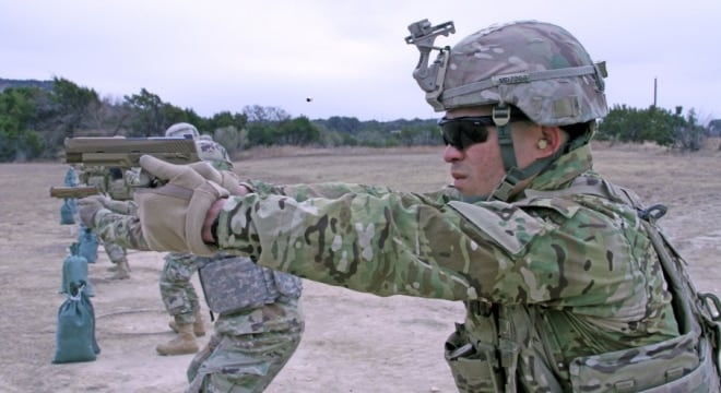 3rd Cavalry Regiment, fire the M17 Modular Handgun System for the first time during a weapons qualification range Jan. 19, 2018 at Fort Hood, Texas
