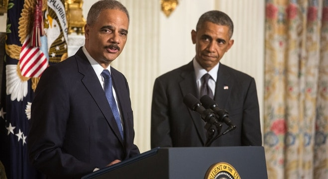 Attorney General Eric H. Holder Jr., delivers remarks following President Barack Obama's statement announcing Holder's departure, in the State Dining Room of the White House, Sept. 25, 2014. (Photo: Chuck Kennedy/White House Archives https://obamawhitehouse.archives.gov/blog/2014/09/25/us-attorney-general-eric-holder-stepping-down-after-six-year-tenure )