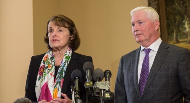 """Dianne Feinstein and Dick's Sporting Goods CEO Ed Stack agree on what the lawmaker terms """"reasonable controls"""" on guns (Photo: Feinstein's office)"""