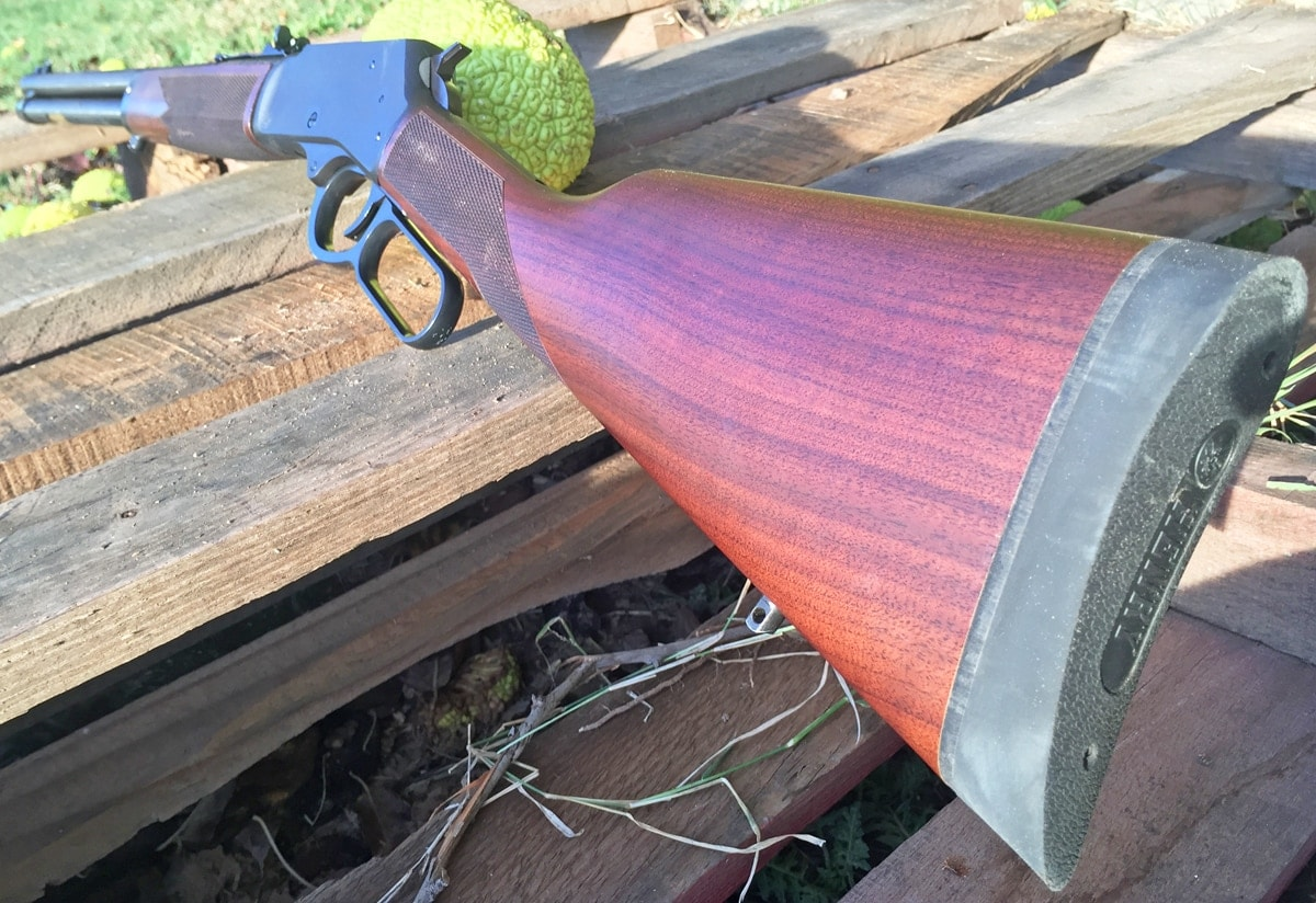 The Henry Big Boy has a walnut stock and generous buttpad, which help make this a practical rifle. (Photo: Team HB)