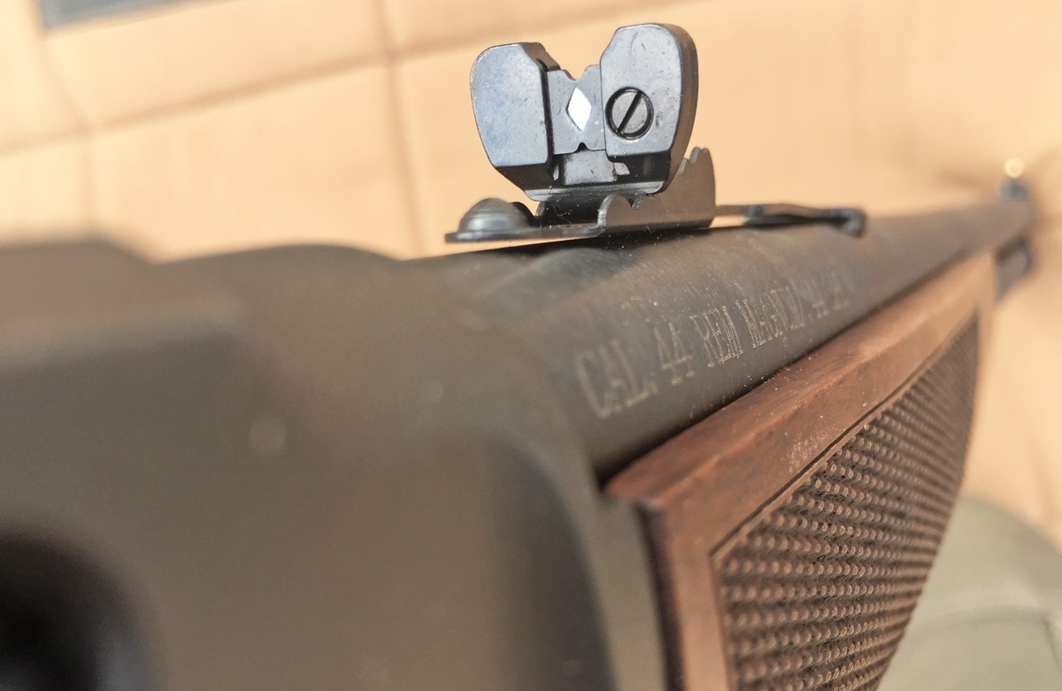 Henry's adjustable, semi-buckhorn rear sight is removable if it gets in the way of a scope. (Photo: Team HB)