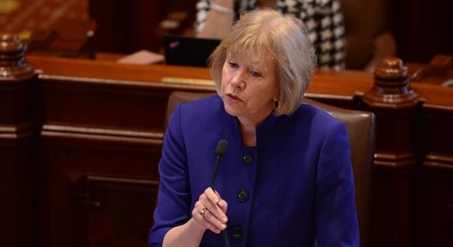 State Sen. Julie Morrison, a Deerfield Democrat, stumped for gun control proposals on the Senate floor this week. (Photo: Illinois Democrats)