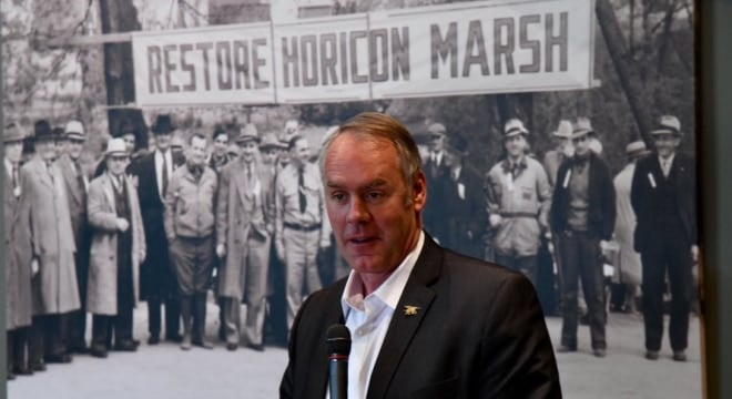 Secretary Zinke was on hand at the Horicon Marsh State Wildlife Area to present Wisconsin conservation officials with a ceremonial check for $34.9 million on Tuesday, the state's grant allocation through long-running wildlife restoration programs. (Photo: U.S. F&WS)