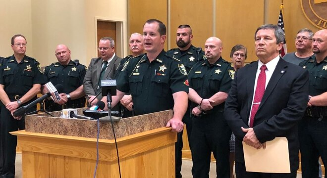 """""""If you attack our schools, it will be the last thing you ever do,"""" says a Florida sheriff working with the local school board to train volunteer teachers and faculty to become special deputies. (Photo: PCSO)"""